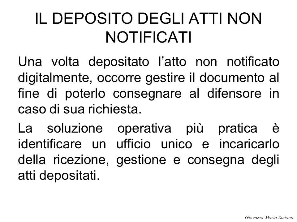IL DEPOSITO DEGLI ATTI NON NOTIFICATI Una volta depositato l'atto non notificato digitalmente, occorre gestire il documento al fine di poterlo consegn
