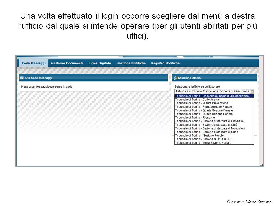 Una volta effettuato il login occorre scegliere dal menù a destra l'ufficio dal quale si intende operare (per gli utenti abilitati per più uffici). Gi