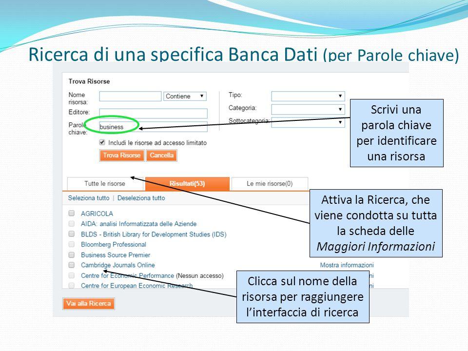 Ricerca di una specifica Banca Dati (per Parole chiave) Scrivi una parola chiave per identificare una risorsa Attiva la Ricerca, che viene condotta su tutta la scheda delle Maggiori Informazioni Clicca sul nome della risorsa per raggiungere l'interfaccia di ricerca