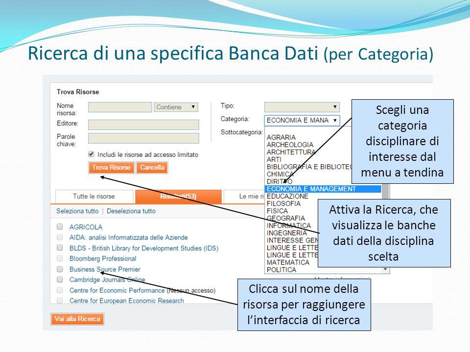 Ricerca di una specifica Banca Dati (per Categoria) Scegli una categoria disciplinare di interesse dal menu a tendina Attiva la Ricerca, che visualizza le banche dati della disciplina scelta Clicca sul nome della risorsa per raggiungere l'interfaccia di ricerca
