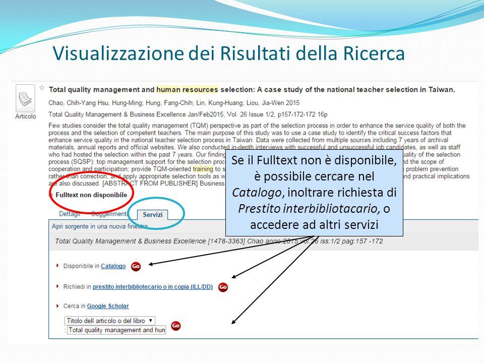 Se il Fulltext non è disponibile, è possibile cercare nel Catalogo, inoltrare richiesta di Prestito interbibliotacario, o accedere ad altri servizi