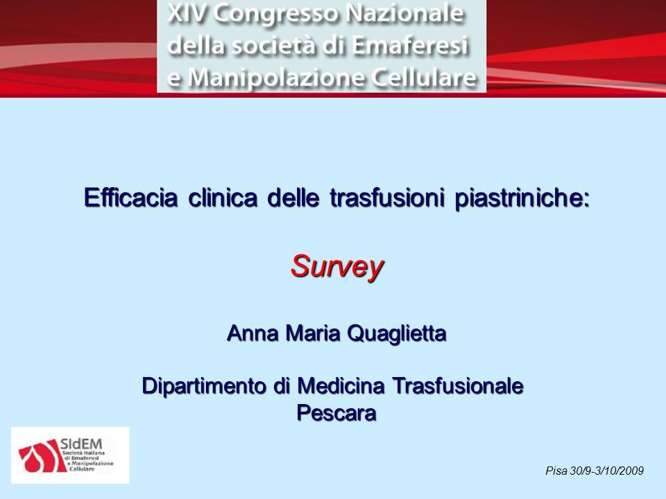 Efficacia clinica delle trasfusioni piastriniche: Survey Anna Maria Quaglietta Dipartimento di Medicina Trasfusionale Pescara Pisa 30/9-3/10/2009