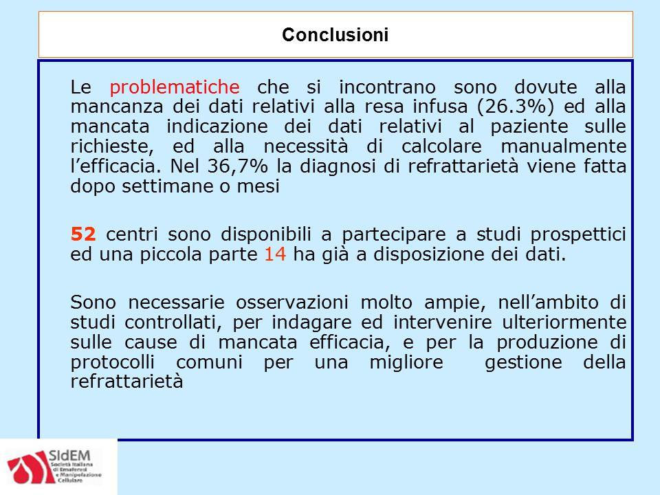 Le problematiche che si incontrano sono dovute alla mancanza dei dati relativi alla resa infusa (26.3%) ed alla mancata indicazione dei dati relativi