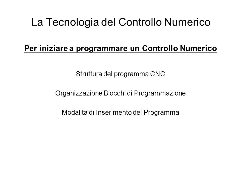 La Tecnologia del Controllo Numerico Per iniziare a programmare un Controllo Numerico Struttura del programma CNC Organizzazione Blocchi di Programmaz