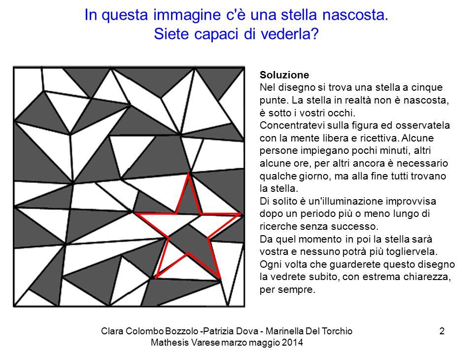 Clara Colombo Bozzolo -Patrizia Dova - Marinella Del Torchio Mathesis Varese marzo maggio 2014 2 In questa immagine c'è una stella nascosta. Siete cap