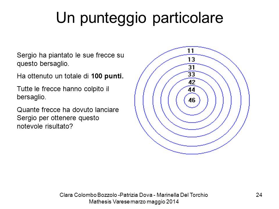 Clara Colombo Bozzolo -Patrizia Dova - Marinella Del Torchio Mathesis Varese marzo maggio 2014 24 Un punteggio particolare Sergio ha piantato le sue f