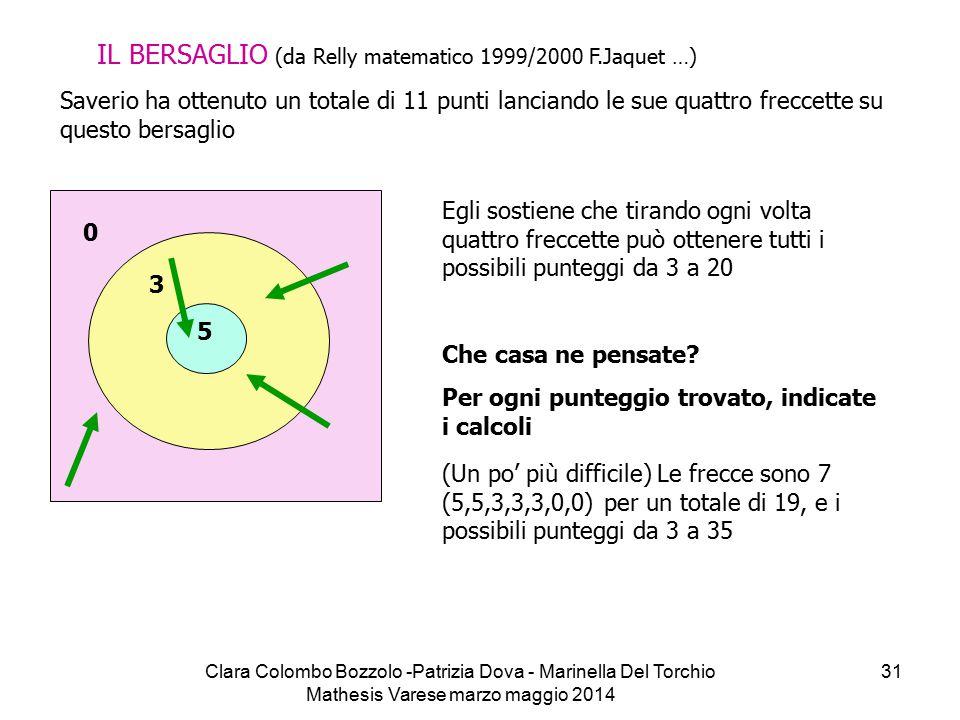 Clara Colombo Bozzolo -Patrizia Dova - Marinella Del Torchio Mathesis Varese marzo maggio 2014 31 IL BERSAGLIO (da Relly matematico 1999/2000 F.Jaquet