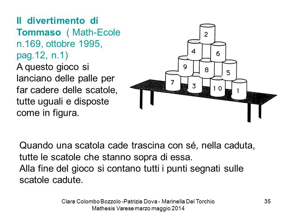 Clara Colombo Bozzolo -Patrizia Dova - Marinella Del Torchio Mathesis Varese marzo maggio 2014 35 Il divertimento di Tommaso ( Math-Ecole n.169, ottob