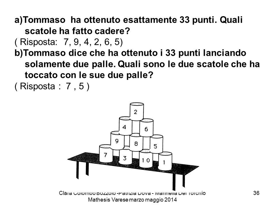 Clara Colombo Bozzolo -Patrizia Dova - Marinella Del Torchio Mathesis Varese marzo maggio 2014 36 a)Tommaso ha ottenuto esattamente 33 punti. Quali sc