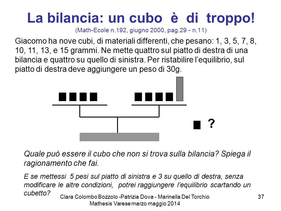 Clara Colombo Bozzolo -Patrizia Dova - Marinella Del Torchio Mathesis Varese marzo maggio 2014 37 La bilancia: un cubo è di troppo! (Math-Ecole n.192,