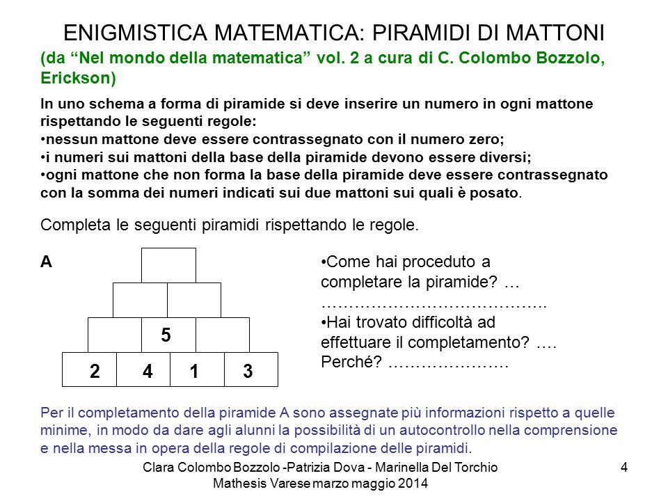 """Clara Colombo Bozzolo -Patrizia Dova - Marinella Del Torchio Mathesis Varese marzo maggio 2014 4 ENIGMISTICA MATEMATICA: PIRAMIDI DI MATTONI (da """"Nel"""
