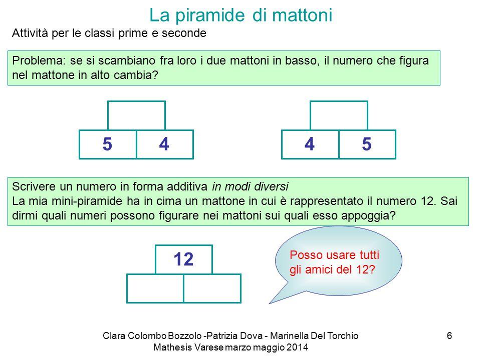 Clara Colombo Bozzolo -Patrizia Dova - Marinella Del Torchio Mathesis Varese marzo maggio 2014 6 La piramide di mattoni Problema: se si scambiano fra