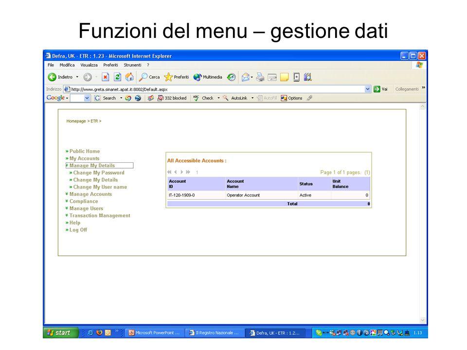 Funzioni del menu – gestione dati