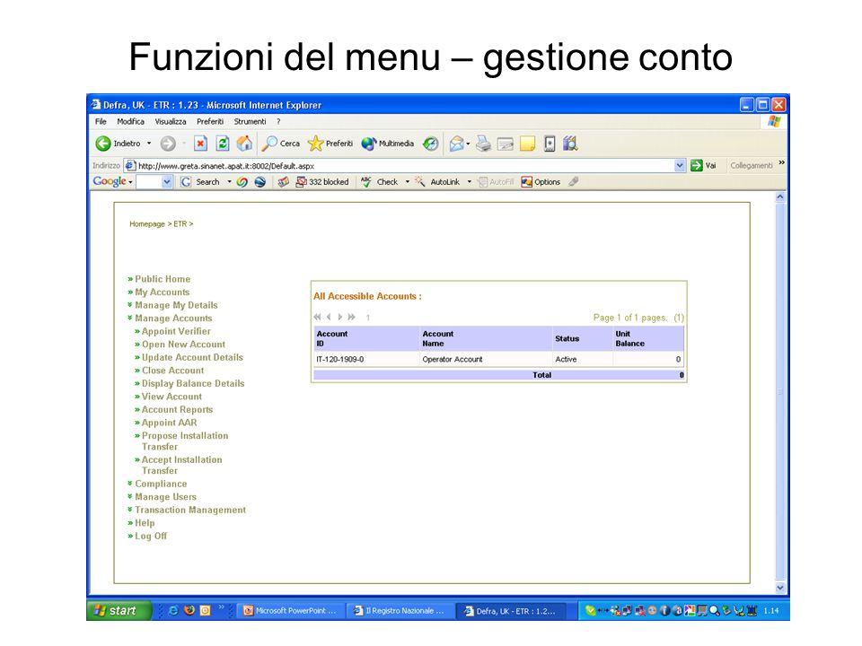Funzioni del menu – gestione conto