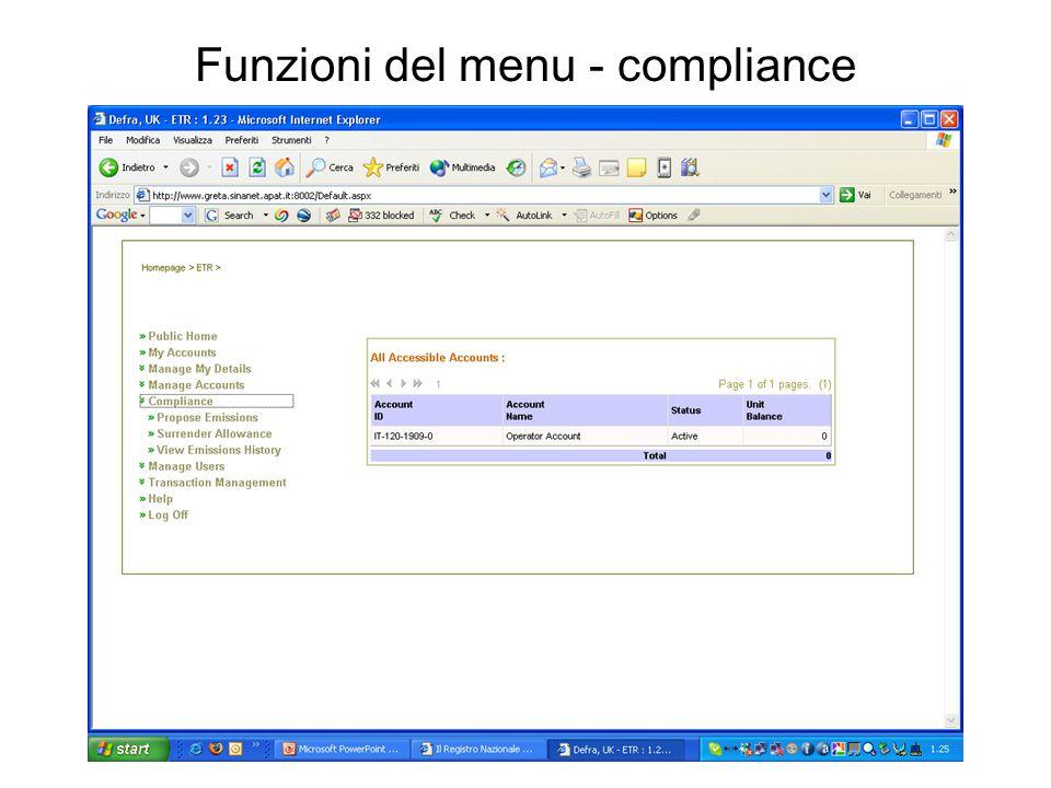 Funzioni del menu - compliance
