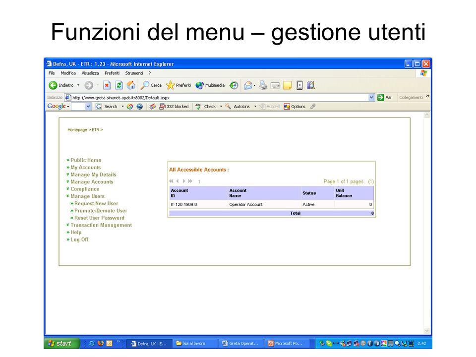 Funzioni del menu – gestione utenti