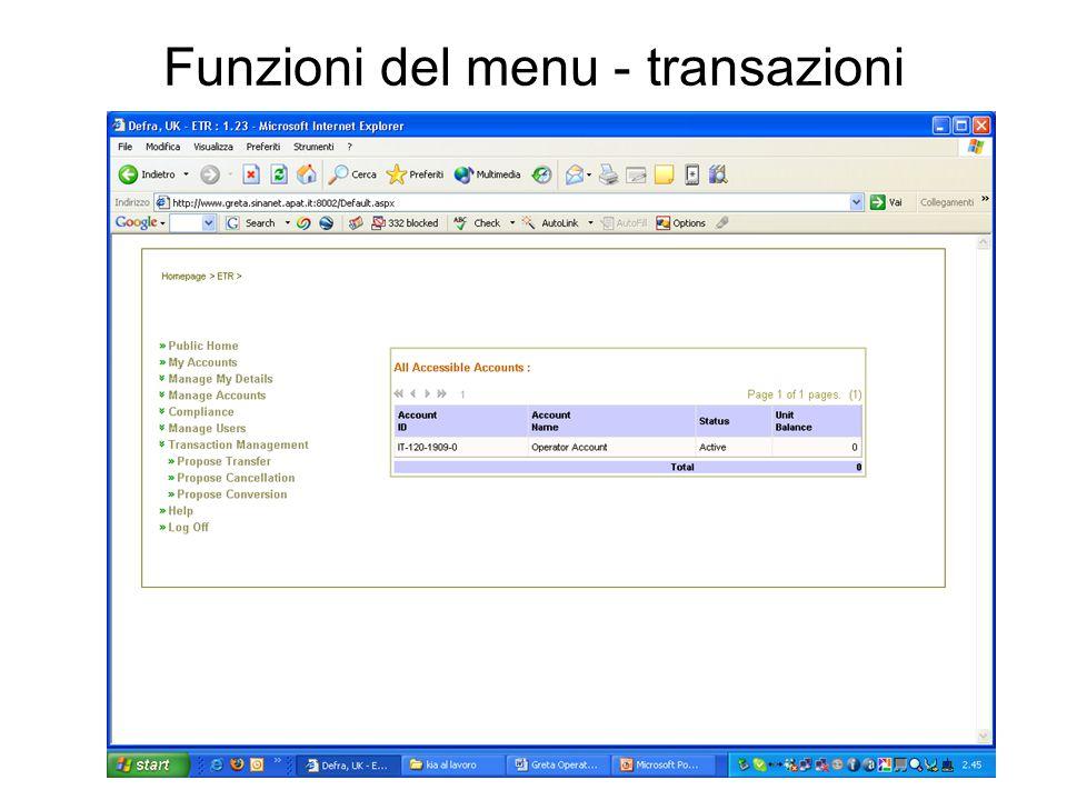 Funzioni del menu - transazioni