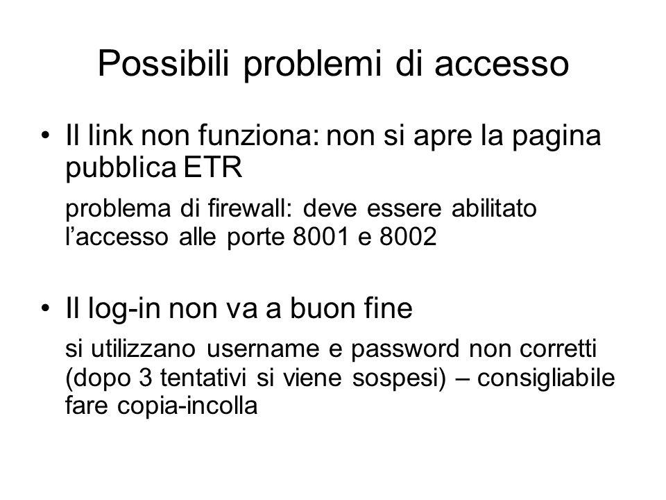 Possibili problemi di accesso Il link non funziona: non si apre la pagina pubblica ETR problema di firewall: deve essere abilitato l'accesso alle porte 8001 e 8002 Il log-in non va a buon fine si utilizzano username e password non corretti (dopo 3 tentativi si viene sospesi) – consigliabile fare copia-incolla
