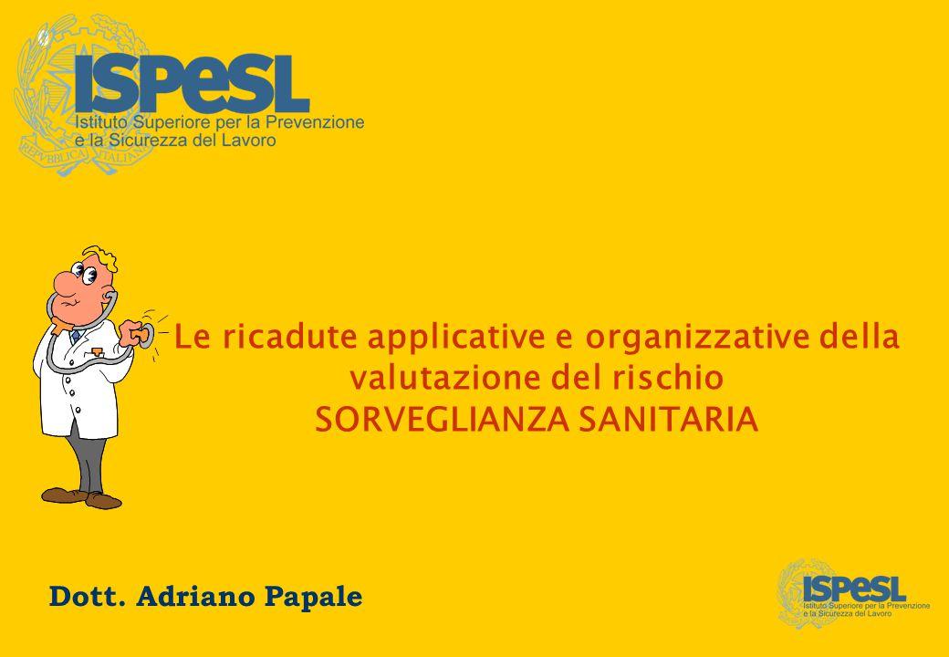 0 Le ricadute applicative e organizzative della valutazione del rischio SORVEGLIANZA SANITARIA Dott. Adriano Papale