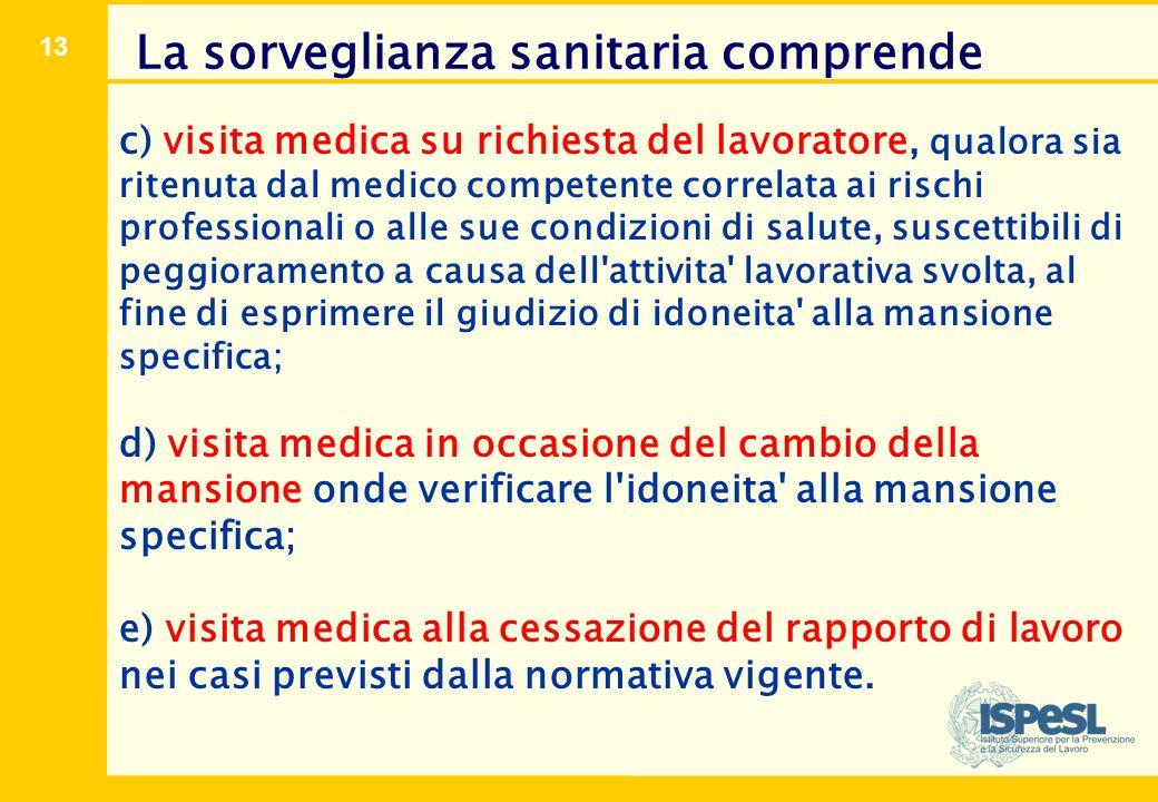 13 c) visita medica su richiesta del lavoratore, qualora sia ritenuta dal medico competente correlata ai rischi professionali o alle sue condizioni di