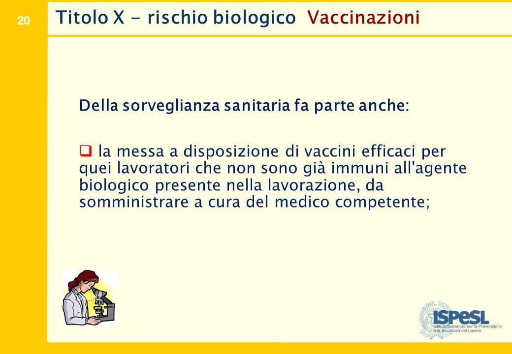 20 Titolo X - rischio biologico Vaccinazioni Della sorveglianza sanitaria fa parte anche:  la messa a disposizione di vaccini efficaci per quei lavor