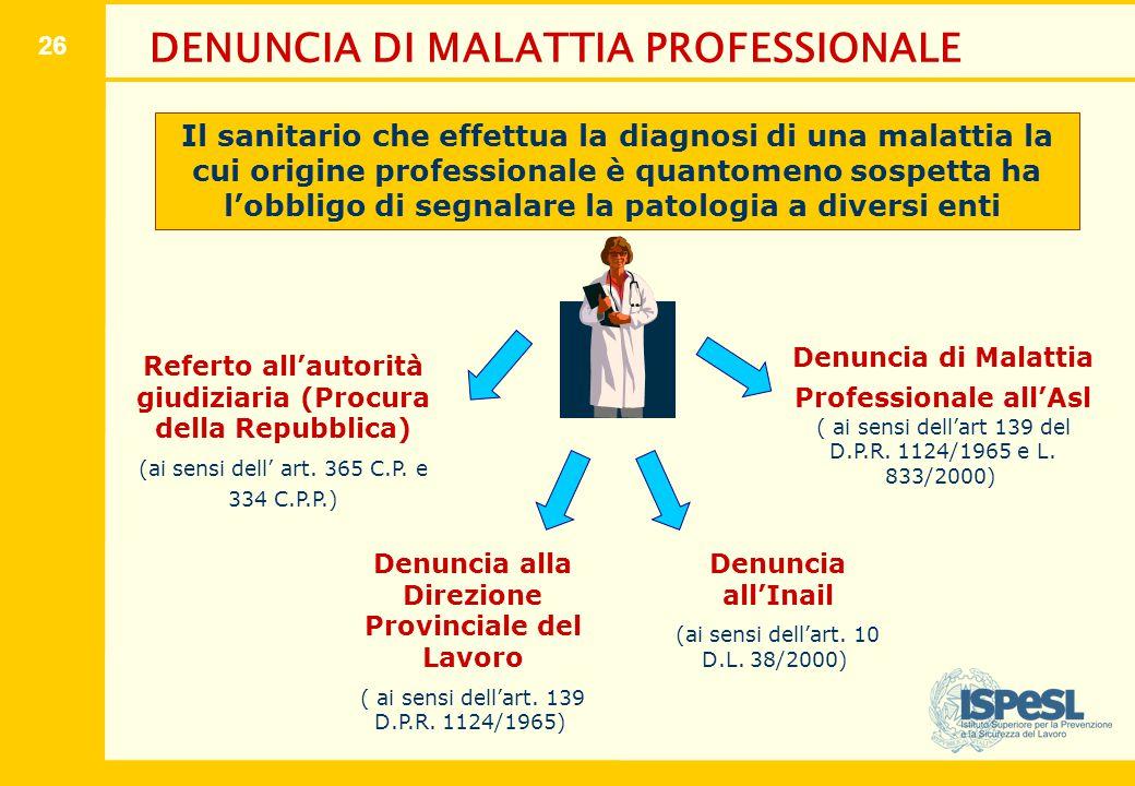 26 DENUNCIA DI MALATTIA PROFESSIONALE Referto all'autorità giudiziaria (Procura della Repubblica) (ai sensi dell' art. 365 C.P. e 334 C.P.P.) Denuncia