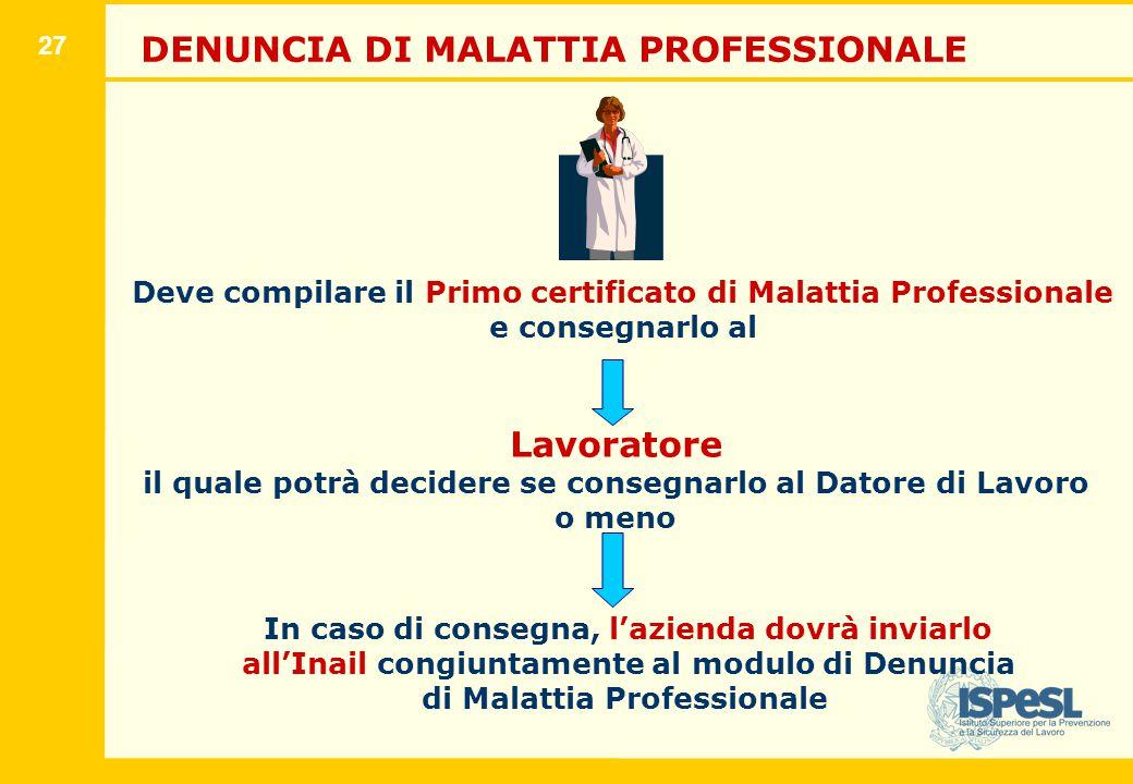 27 DENUNCIA DI MALATTIA PROFESSIONALE Deve compilare il Primo certificato di Malattia Professionale e consegnarlo al Lavoratore il quale potrà decider