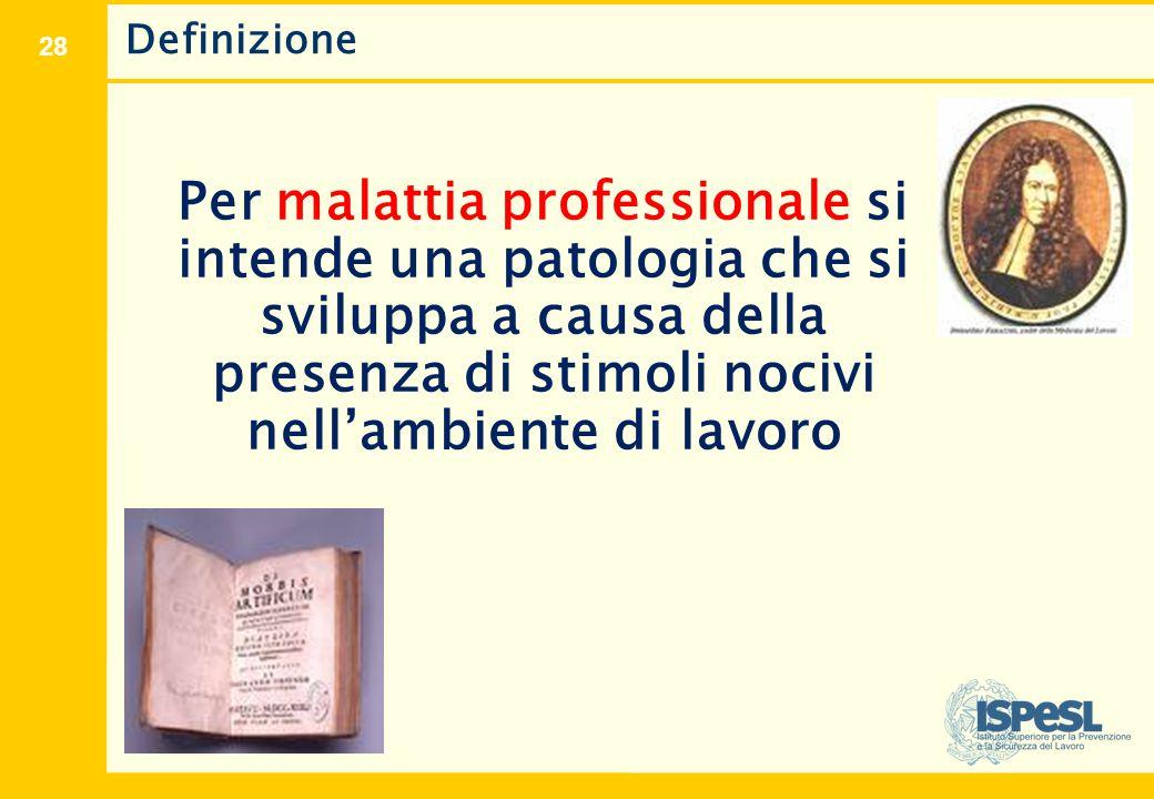 28 Definizione Per malattia professionale si intende una patologia che si sviluppa a causa della presenza di stimoli nocivi nell'ambiente di lavoro