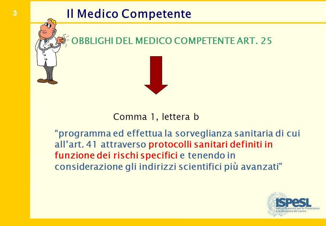 """3 Il Medico Competente OBBLIGHI DEL MEDICO COMPETENTE ART. 25 Comma 1, lettera b """"programma ed effettua la sorveglianza sanitaria di cui all'art. 41 a"""