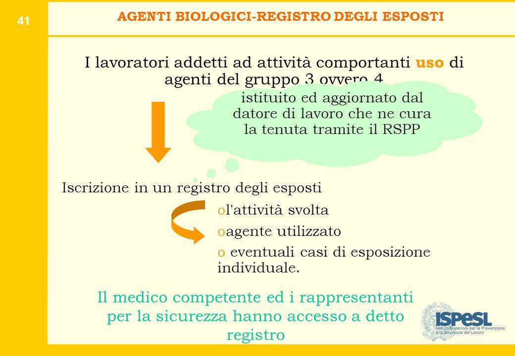 41 I lavoratori addetti ad attività comportanti uso di agenti del gruppo 3 ovvero 4 Iscrizione in un registro degli esposti ol'attività svolta oagente