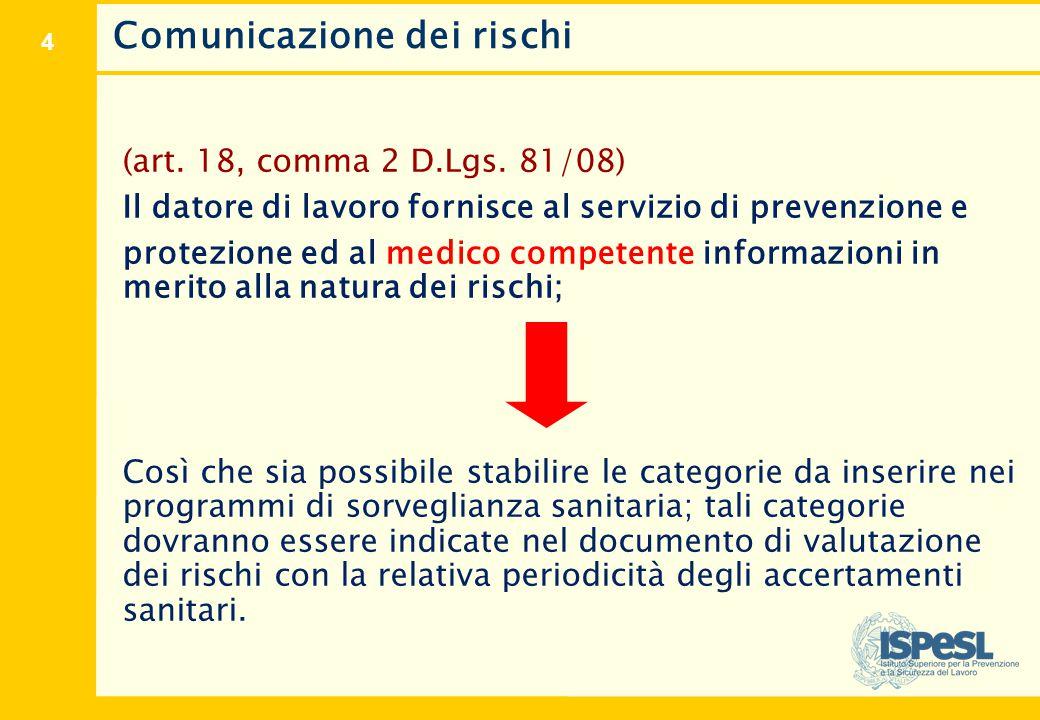 4 Comunicazione dei rischi (art. 18, comma 2 D.Lgs. 81/08) Il datore di lavoro fornisce al servizio di prevenzione e protezione ed al medico competent