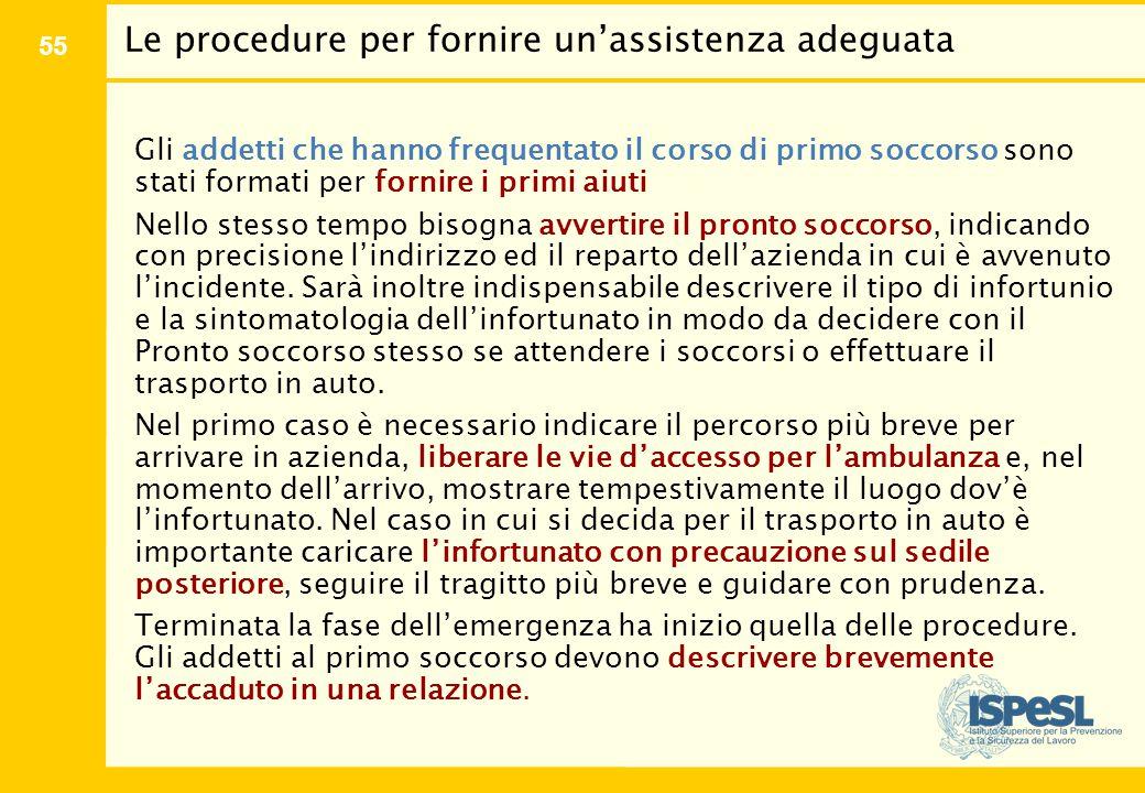 55 Le procedure per fornire un'assistenza adeguata Gli addetti che hanno frequentato il corso di primo soccorso sono stati formati per fornire i primi