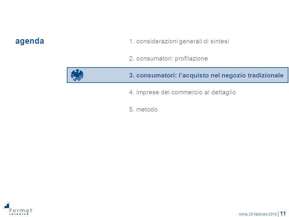 roma, 20 febbraio 2015 | 11 agenda 1. considerazioni generali di sintesi 2. consumatori: profilazione 3. consumatori: l'acquisto nel negozio tradizion