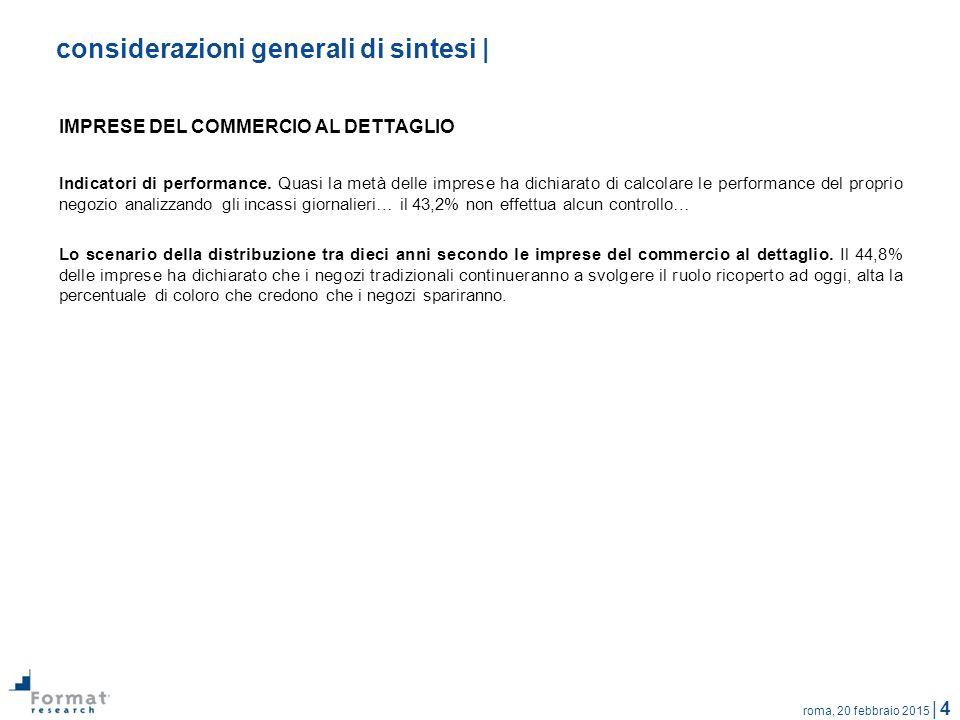 roma, 20 febbraio 2015 | 4 considerazioni generali di sintesi | IMPRESE DEL COMMERCIO AL DETTAGLIO Indicatori di performance.