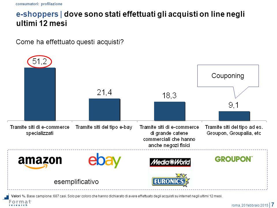 roma, 20 febbraio 2015 | 7 e-shoppers | dove sono stati effettuati gli acquisti on line negli ultimi 12 mesi Valori %. Base campione: 687 casi. Solo p