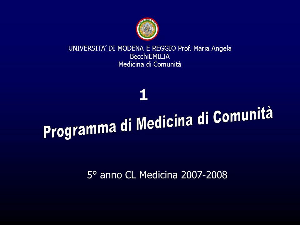 5° anno CL Medicina 2007-2008 1 UNIVERSITA' DI MODENA E REGGIO Prof.