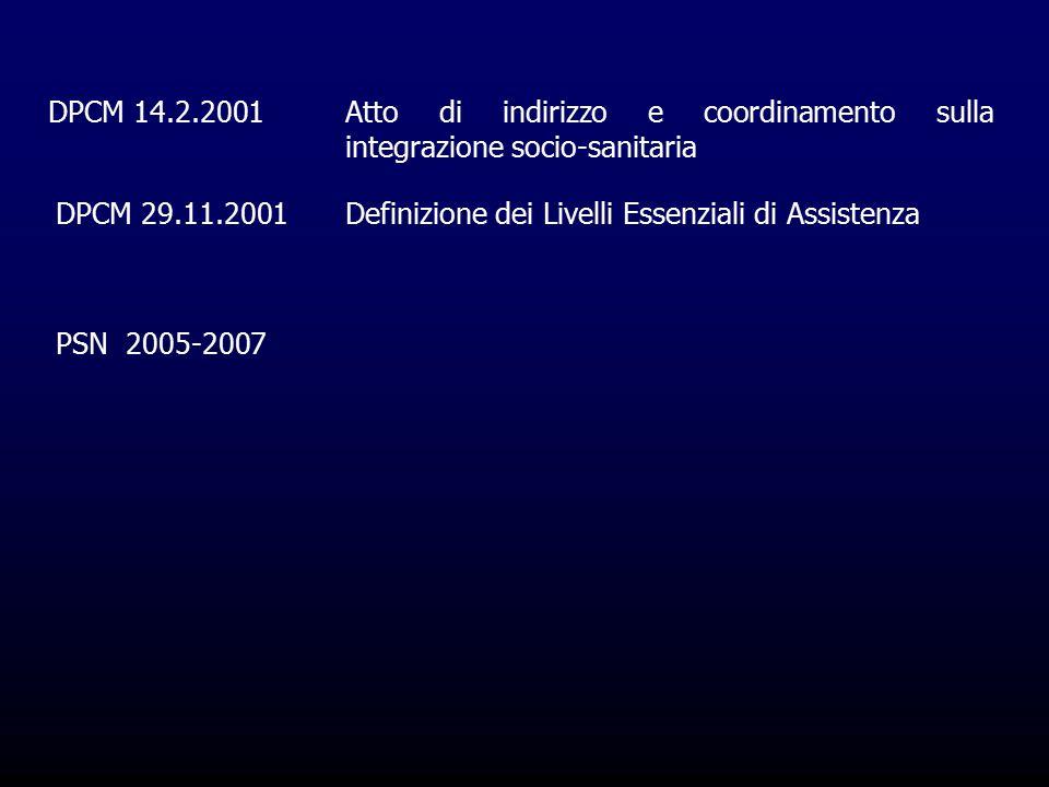 DPCM 14.2.2001Atto di indirizzo e coordinamento sulla integrazione socio-sanitaria DPCM 29.11.2001Definizione dei Livelli Essenziali di Assistenza PSN 2005-2007