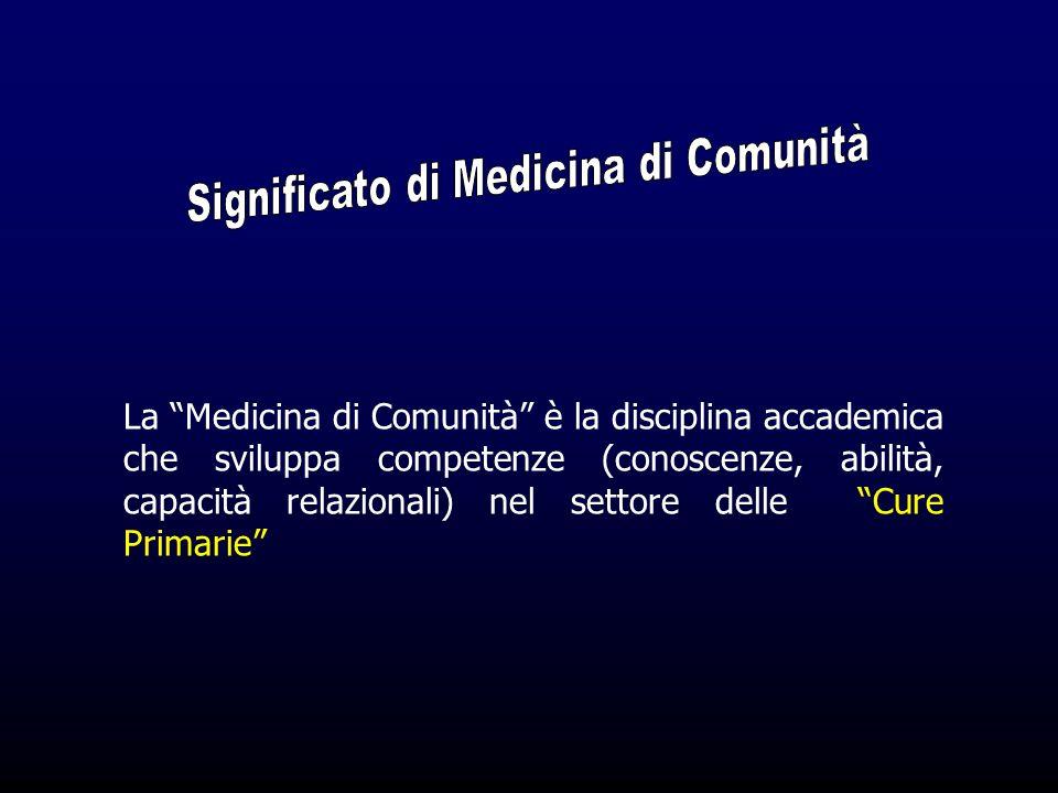 La Medicina di Comunità è la disciplina accademica che sviluppa competenze (conoscenze, abilità, capacità relazionali) nel settore delle Cure Primarie