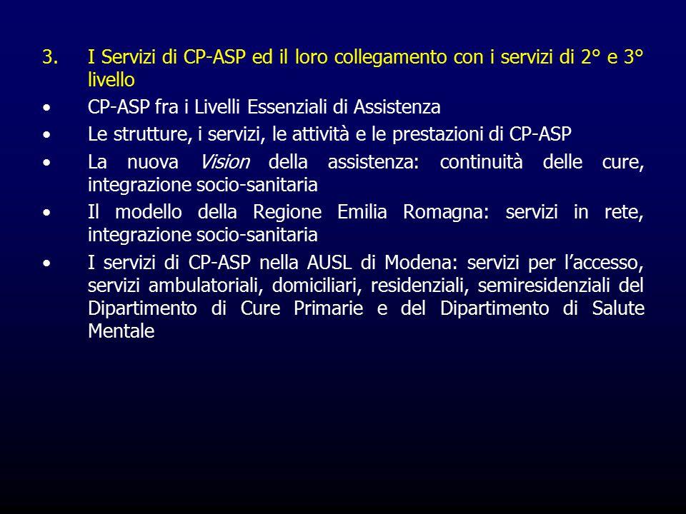 3.I Servizi di CP-ASP ed il loro collegamento con i servizi di 2° e 3° livello CP-ASP fra i Livelli Essenziali di Assistenza Le strutture, i servizi, le attività e le prestazioni di CP-ASP La nuova Vision della assistenza: continuità delle cure, integrazione socio-sanitaria Il modello della Regione Emilia Romagna: servizi in rete, integrazione socio-sanitaria I servizi di CP-ASP nella AUSL di Modena: servizi per l'accesso, servizi ambulatoriali, domiciliari, residenziali, semiresidenziali del Dipartimento di Cure Primarie e del Dipartimento di Salute Mentale