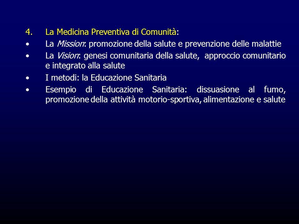 4.La Medicina Preventiva di Comunità: La Mission: promozione della salute e prevenzione delle malattie La Vision: genesi comunitaria della salute, approccio comunitario e integrato alla salute I metodi: la Educazione Sanitaria Esempio di Educazione Sanitaria: dissuasione al fumo, promozione della attività motorio-sportiva, alimentazione e salute