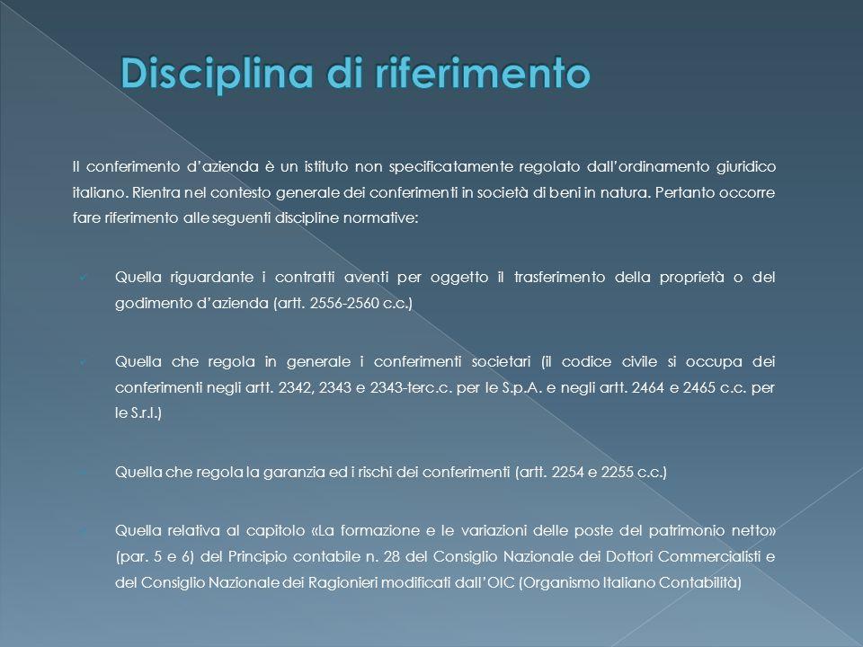 Il momento costitutivo del conferimento si attua mediante la redazione, da parte di un notaio, dell'atto di conferimento.