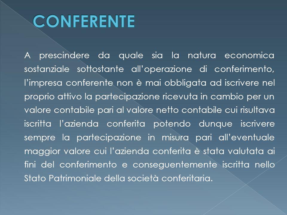 A prescindere da quale sia la natura economica sostanziale sottostante all'operazione di conferimento, l'impresa conferente non è mai obbligata ad isc