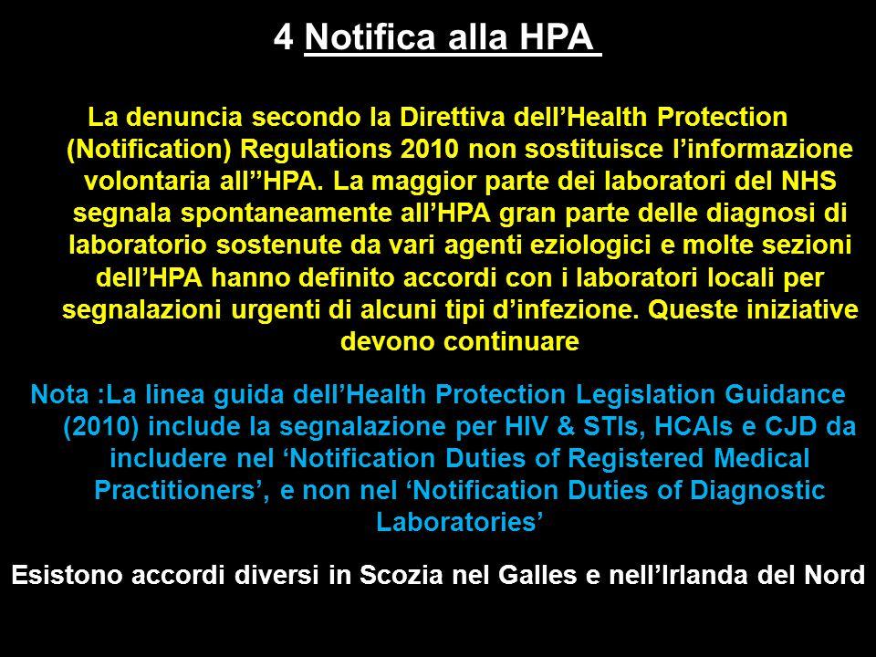 La denuncia secondo la Direttiva dell'Health Protection (Notification) Regulations 2010 non sostituisce l'informazione volontaria all''HPA.