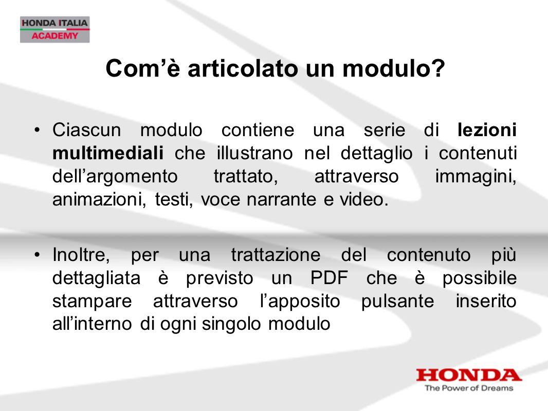Com'è articolato un modulo? Ciascun modulo contiene una serie di lezioni multimediali che illustrano nel dettaglio i contenuti dell'argomento trattato