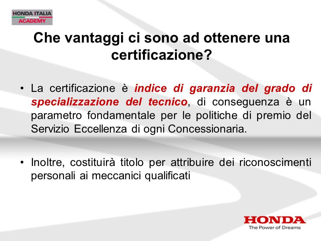 Che vantaggi ci sono ad ottenere una certificazione? La certificazione è indice di garanzia del grado di specializzazione del tecnico, di conseguenza