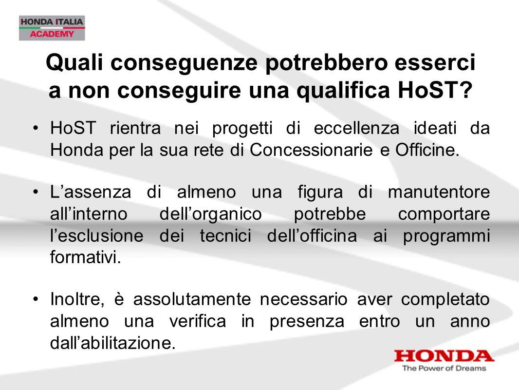 Quali conseguenze potrebbero esserci a non conseguire una qualifica HoST? HoST rientra nei progetti di eccellenza ideati da Honda per la sua rete di C