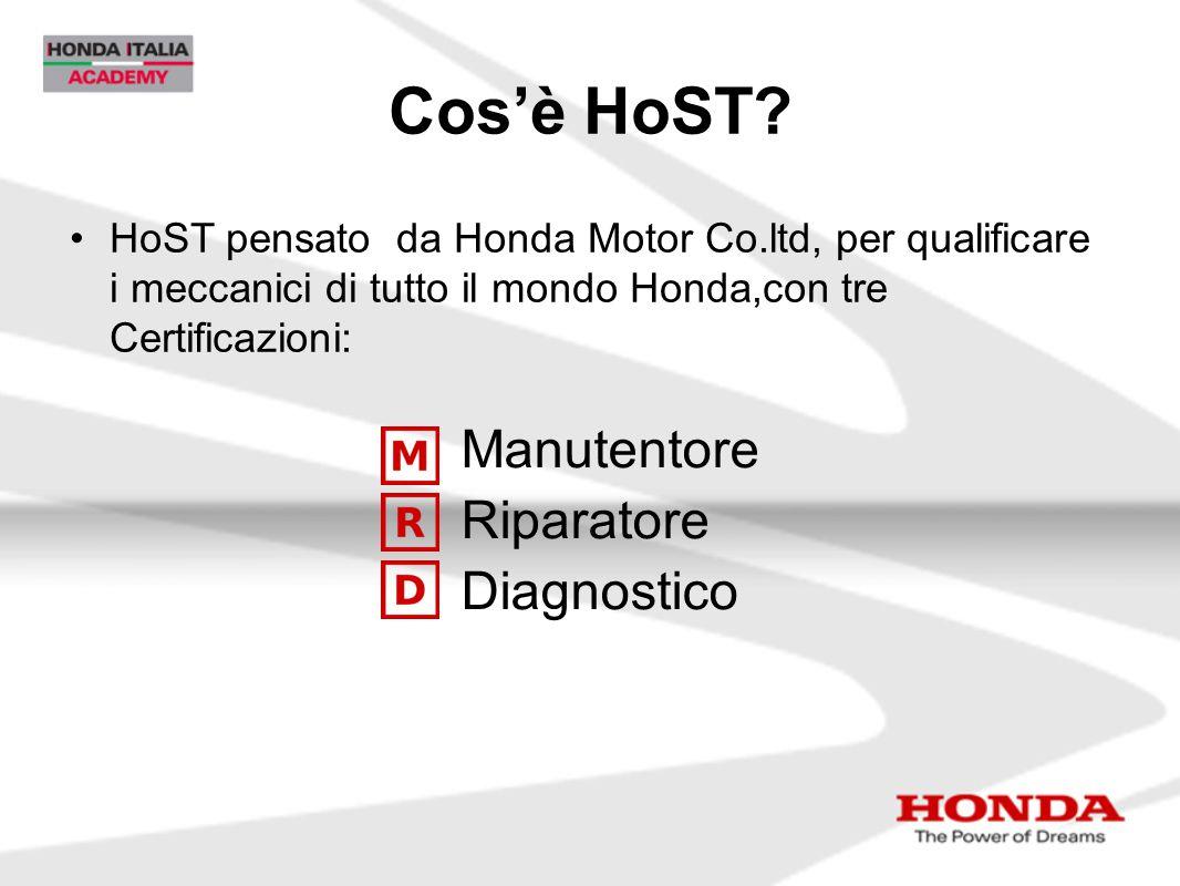 Cos'è HoST? HoST pensato da Honda Motor Co.ltd, per qualificare i meccanici di tutto il mondo Honda,con tre Certificazioni: Manutentore Riparatore Dia