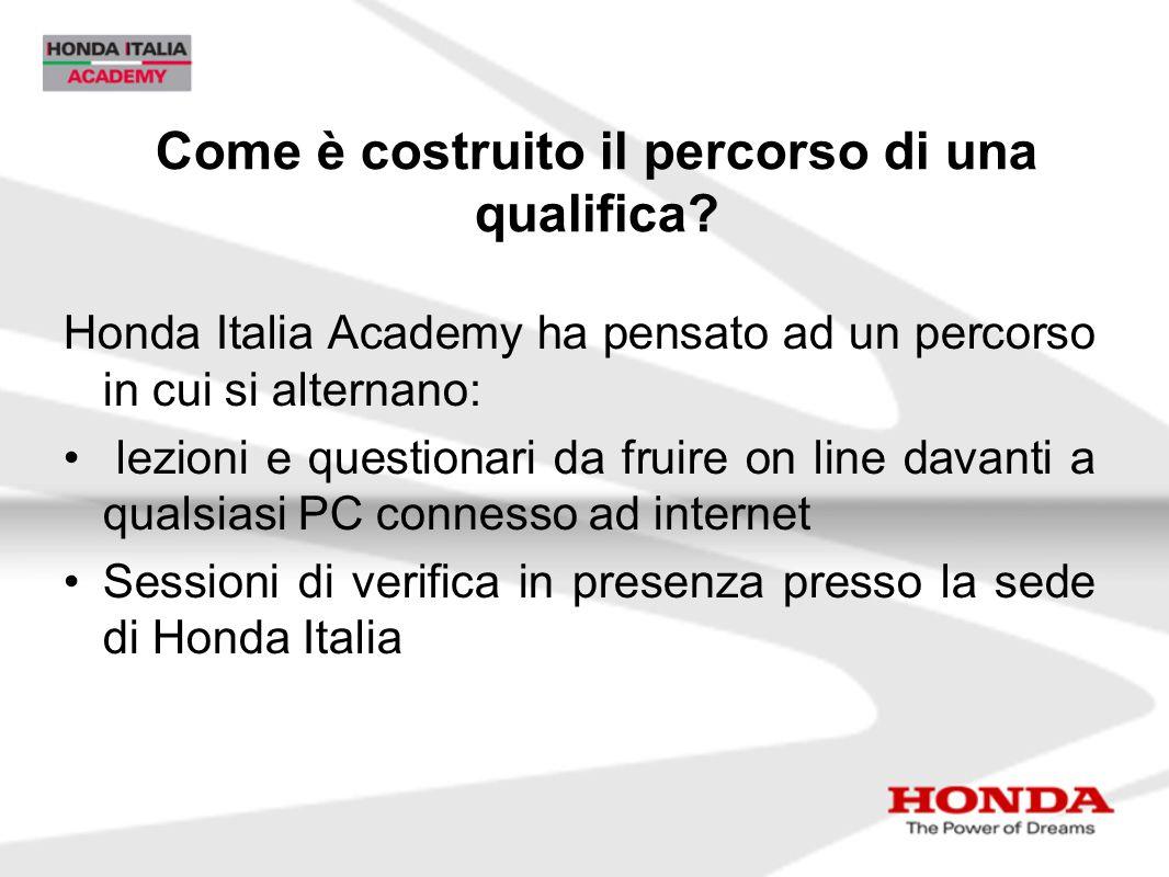 Come è costruito il percorso di una qualifica? Honda Italia Academy ha pensato ad un percorso in cui si alternano: lezioni e questionari da fruire on