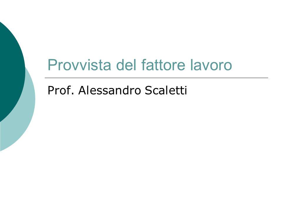 Provvista del fattore lavoro Prof. Alessandro Scaletti