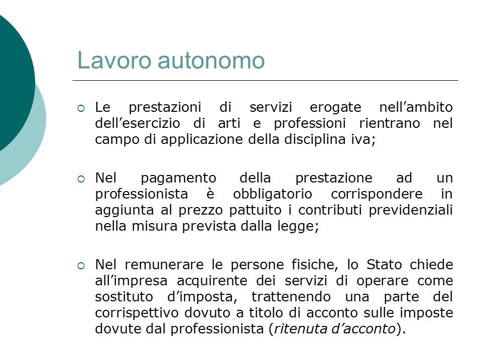 Lavoro autonomo  Le prestazioni di servizi erogate nell'ambito dell'esercizio di arti e professioni rientrano nel campo di applicazione della discipl